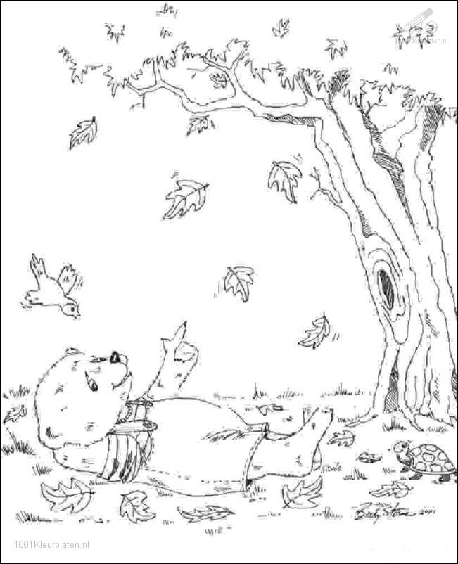 Kleurplaat Herfst Vallende Blaadjes