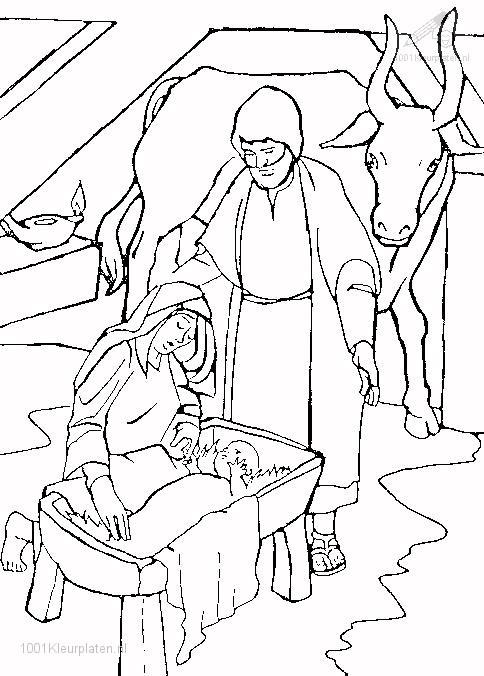 Kleurplaat Jezus geboren