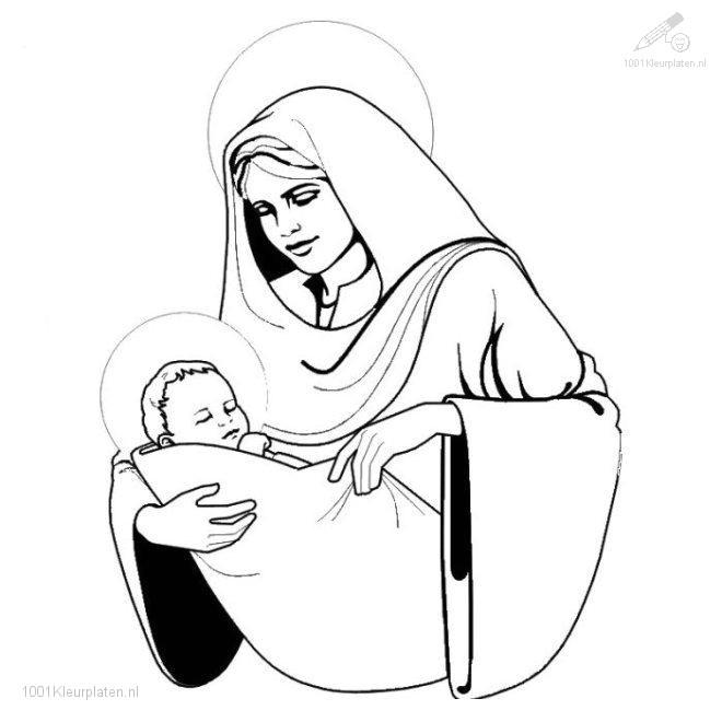 Kleurplaat Kleurplaat Jezus Maria B