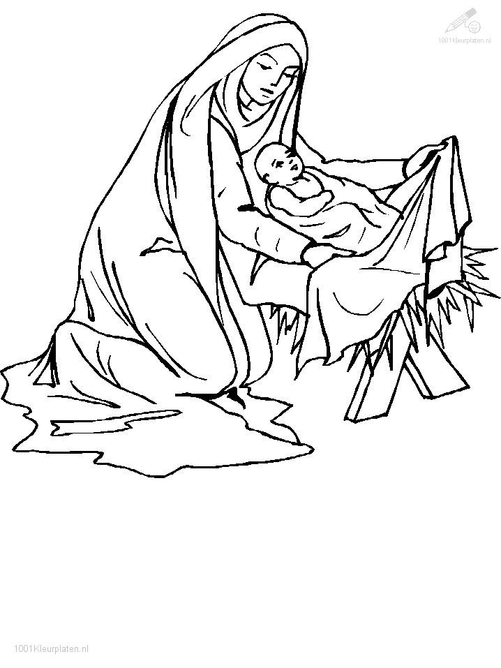 Kleurplaat Jezus en Maria