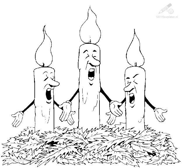 Kleurplaat zingende kaarsen