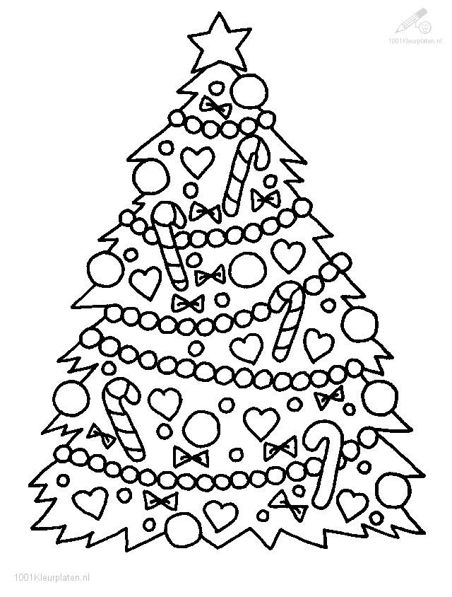 kleurplaten van een kerstboom