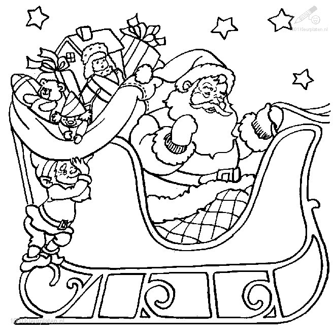 Kleurplaten Winter Slee.1001 Kleurplaten Kerst Slee Kleurplaat Kerstman Slee