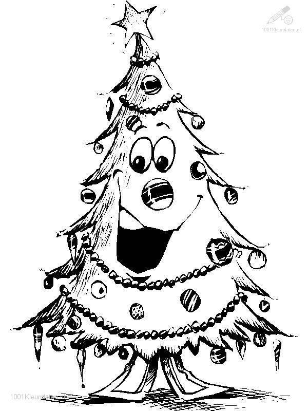 KlKleurplaat Lachende Kerstboom