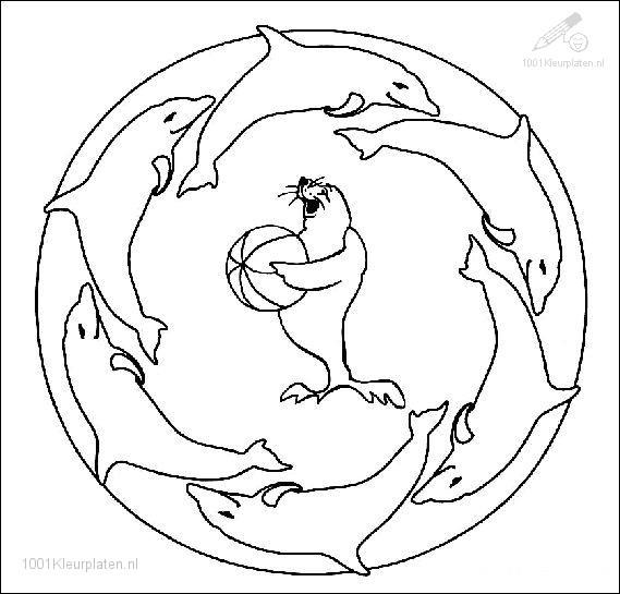 Kleurplaten Van Dolfijnen Mandala.1001 Kleurplaten Fantasie Mandala Kleurplaat Mandala