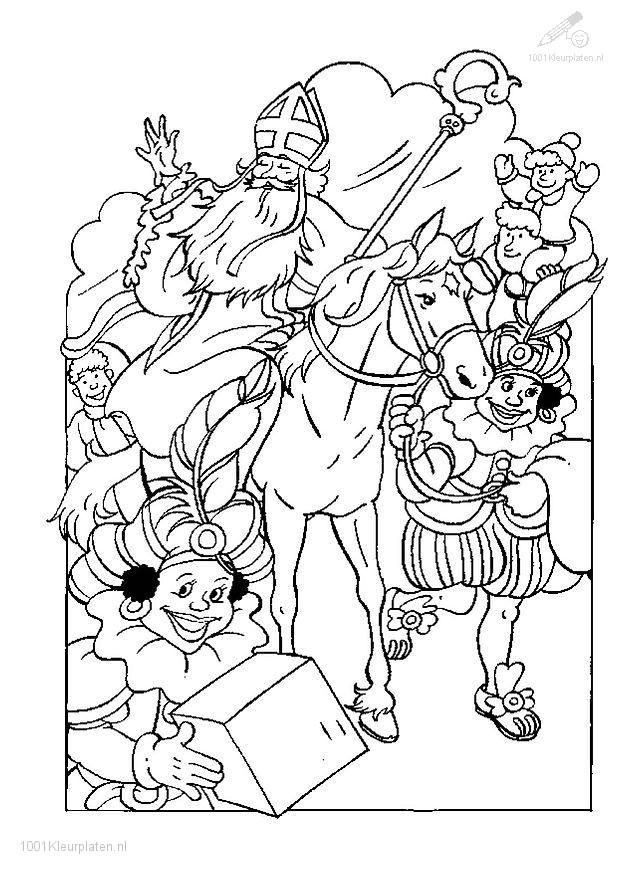 Kleurplaat Sinterklaas en Piet
